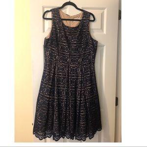 Eliza J Fit and Flare Navy Blue Dress Size 16